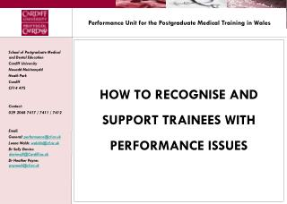 Performance Unit for the Postgraduate Medical Training in Wales