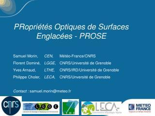 PRopriétés Optiques de Surfaces Englacées - PROSE