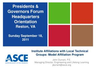 Institute Affiliations with Local Technical Groups: Model Affiliation Program
