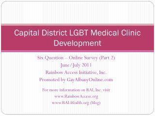 Capital District LGBT Medical Clinic Development
