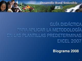 GUÍA DIDÁCTICA  PARA APLICAR LA METODOLOGÍA  EN LAS PLANTILLAS PREDETERMINAS  EXCEL 2007