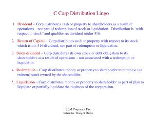 C Corp Distribution Lingo