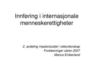 Innføring i internasjonale menneskerettigheter