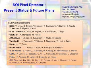 SOI Pixel Detector :  Present Status & Future Plans