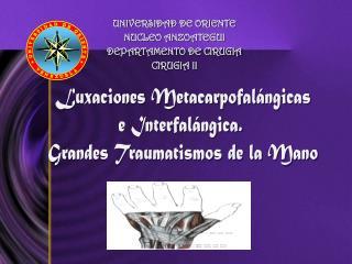 Luxaciones Metacarpofal ngicas e Interfal ngica.  Grandes Traumatismos de la Mano