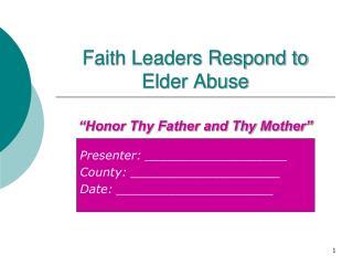 Faith Leaders Respond to Elder Abuse
