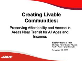Creating Livable Communities: