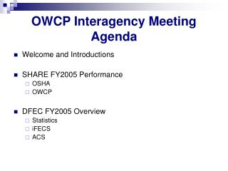 OWCP Interagency Meeting Agenda