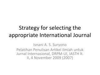 Strategy for selecting the appropriate International Journal
