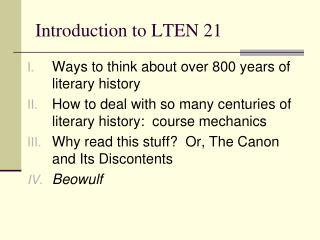 Introduction to LTEN 21