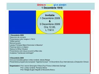 Unire-n cuget  şi-n simţiri     1 Decembrie 1918