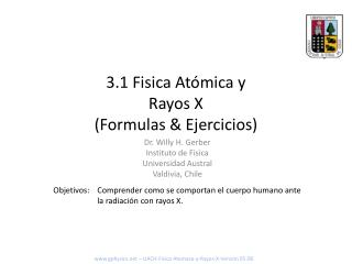 3.1 Fisica Atómica y Rayos X (Formulas & Ejercicios)