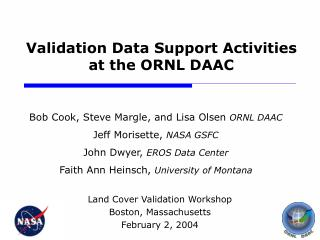 Validation Data Support Activities  at the ORNL DAAC