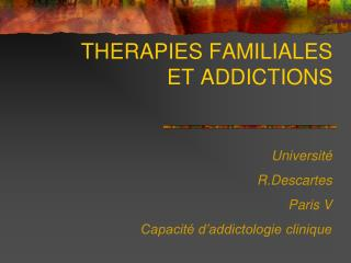 THERAPIES FAMILIALES  ET ADDICTIONS