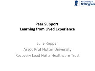 Peer Support: Learning from Lived Experience
