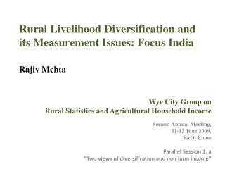 Rural Livelihood Diversification and its Measurement Issues: Focus India   Rajiv Mehta