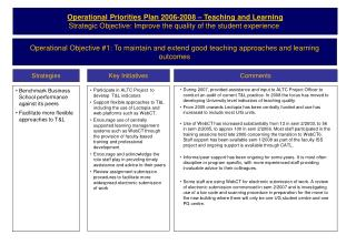 Operational Priorities Plan 2006-2008 � Teaching and Learning