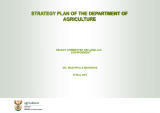 STRATEGY PLAN OF THE DEPARTMENT OF AGRICULTURE