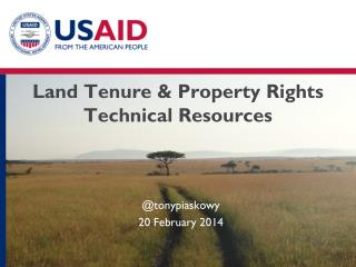 Land Tenure  & Property Rights  Technical Resources