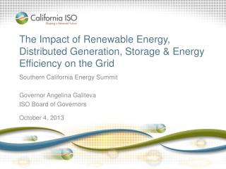 The Impact of Renewable Energy, Distributed Generation, Storage & Energy Efficiency on the Grid