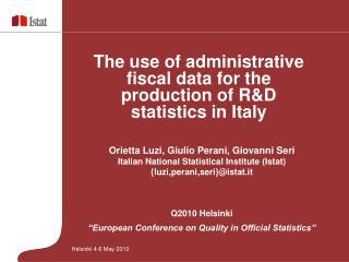 Orietta Luzi, Giulio Perani, Giovanni Seri Italian National Statistical Institute (Istat)