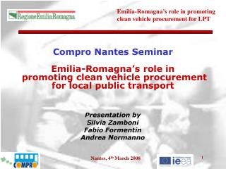 Presentation by  Silvia Zamboni Fabio Formentin Andrea Normanno