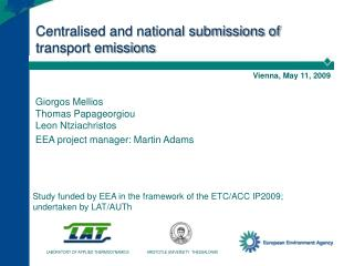 Centralised and national submissions of transport emissions