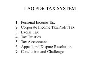 LAO PDR TAX SYSTEM