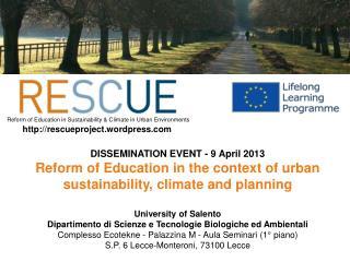 DISSEMINATION EVENT - 9 April 2013