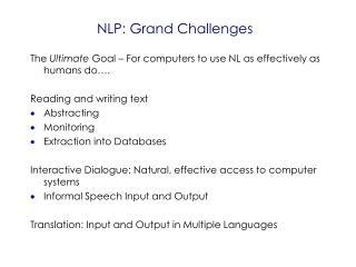 NLP: Grand Challenges