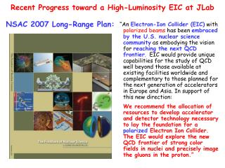 Recent Progress toward a High-Luminosity EIC at  JLab