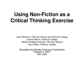 Using Non-Fiction as a Critical Thinking Exercise