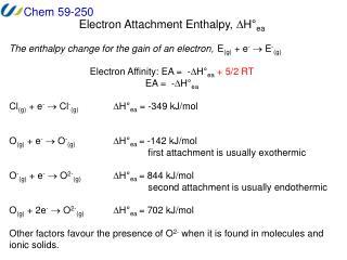 Electron Attachment Enthalpy,  D H � ea