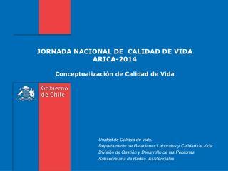 JORNADA NACIONAL DE  CALIDAD DE VIDA ARICA-2014  Conceptualización de Calidad de Vida