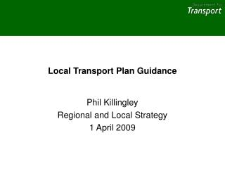 Local Transport Plan Guidance