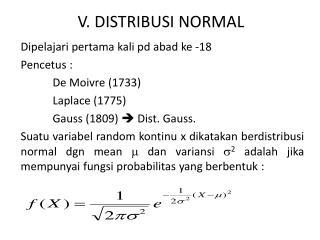 V. DISTRIBUSI NORMAL