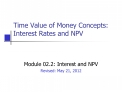 Time Value of Money Concepts:  Interest Rates and NPV