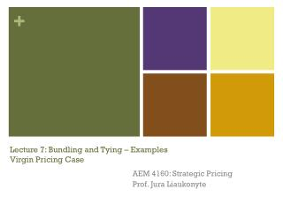 Lecture 7: Bundling and Tying � Examples Virgin Pricing Case