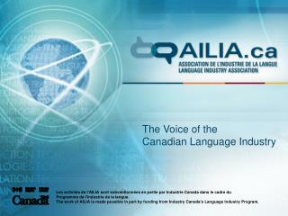 The Voice of the Canadian Language Industry
