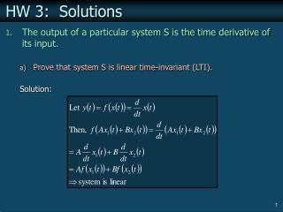 HW 3:  Solutions