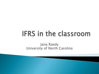 IFRS in the classroom