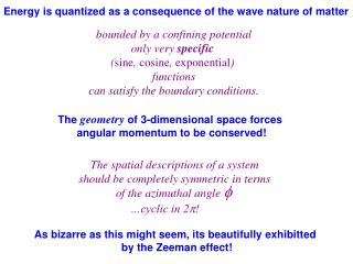Energy is quantized as a consequence of the wave nature of matter