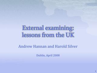 External examining: lessons from the UK
