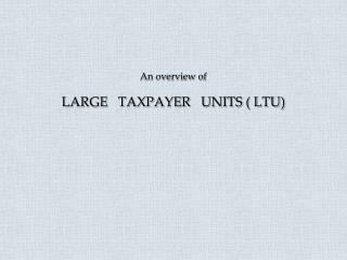 An overview of LARGE   TAXPAYER   UNITS ( LTU)