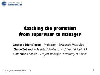 Coaching the promotion  from supervisor to manager