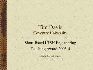Tim Davis Coventry University