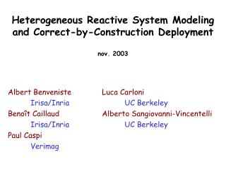Heterogeneous Reactive System Modeling and Correct-by-Construction Deployment nov. 2003