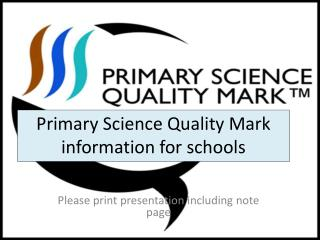 Primary Science Quality Mark information for schools