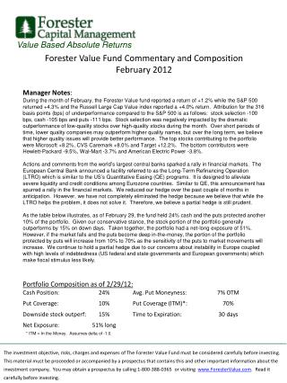 Forester Value Fund Commentary and Composition February 2012