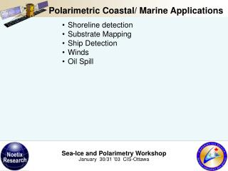 Shoreline detection Substrate Mapping Ship Detection Winds Oil Spill